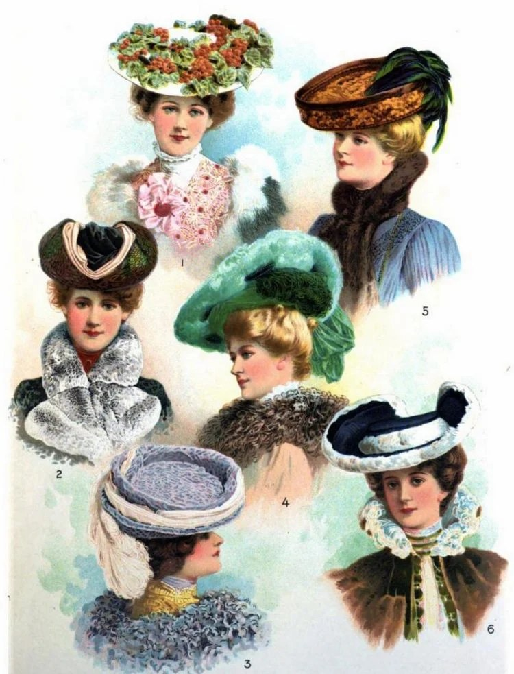 Stylish hats from 1900s