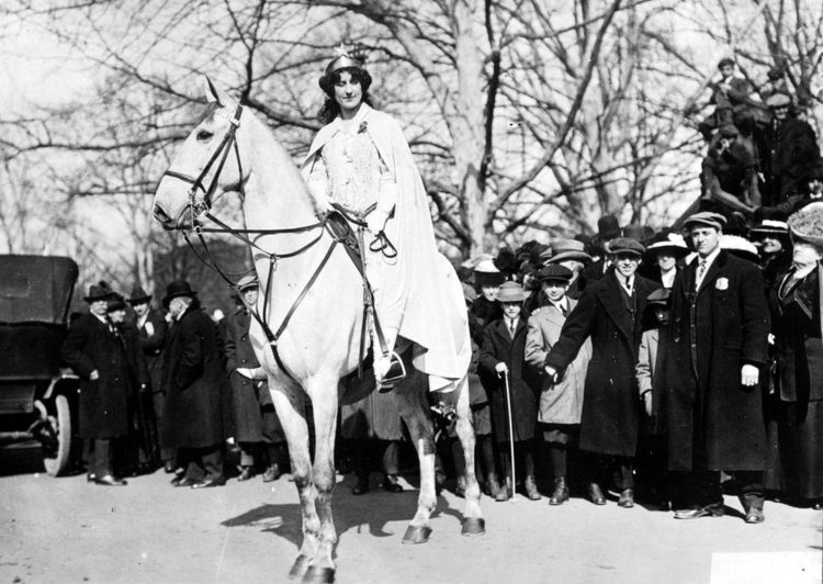 Suffragist and lawyer Inez Milholland Boissevain at a women's suffrage parade in New York City, May 3, 1913