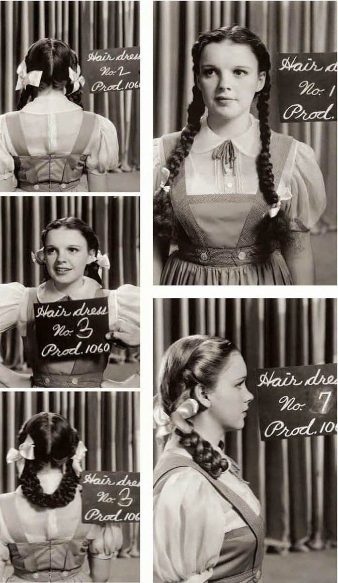 Testing Judy Garland hair and dress - Behind the scenes of The Wizard of Oz movie (1939)