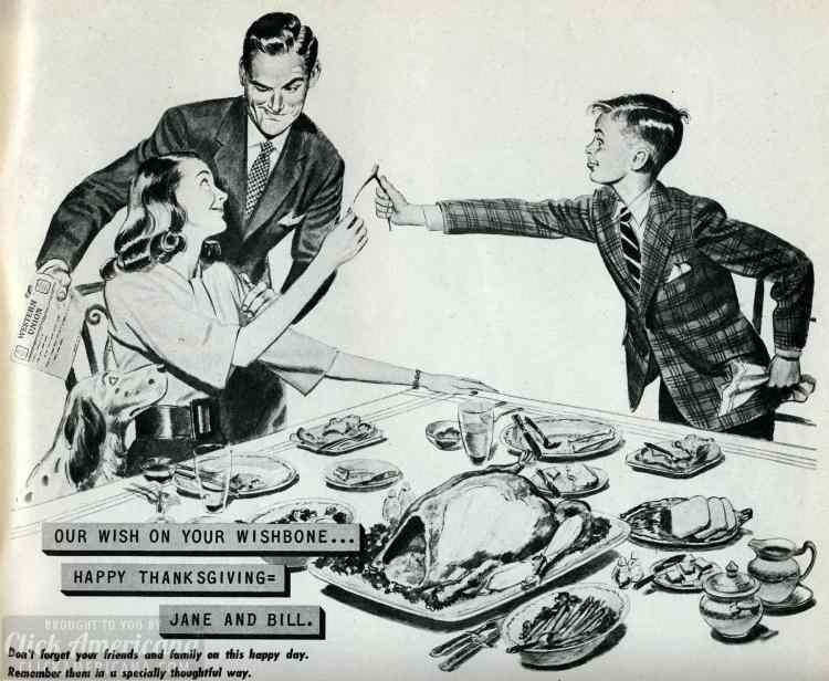 Thanksgiving scene from 1946 - breaking the turkey wishbone