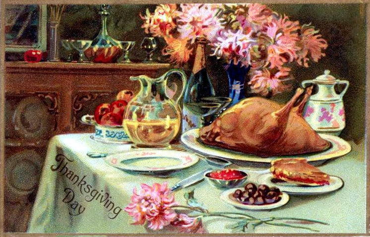 How to cook a turkey for Thanksgiving - Vintage postcard