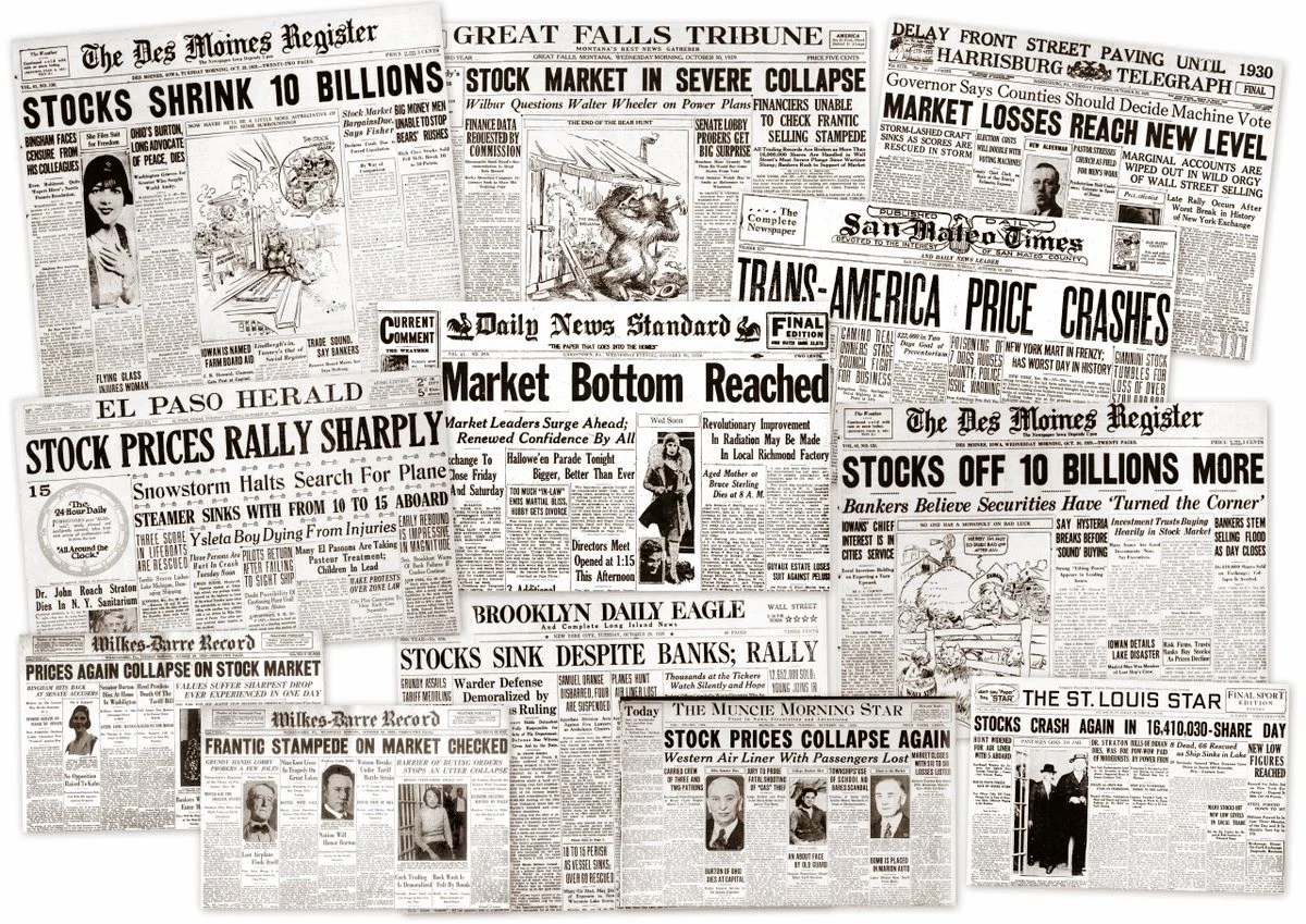 The Great Depression Newspaper Headlines From The Stock Market