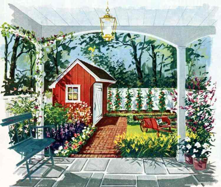 Garden of vegetables and flowers - Tiny private gardens and sweet retreats Clever ideas for small outdoor spaces from the 1960s