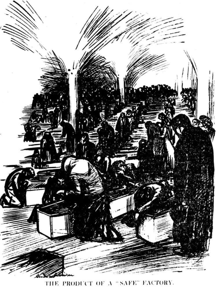 Triangle Shirtwaist Factory fire - Editorial cartoon from the New York Tribune - March 27 1911