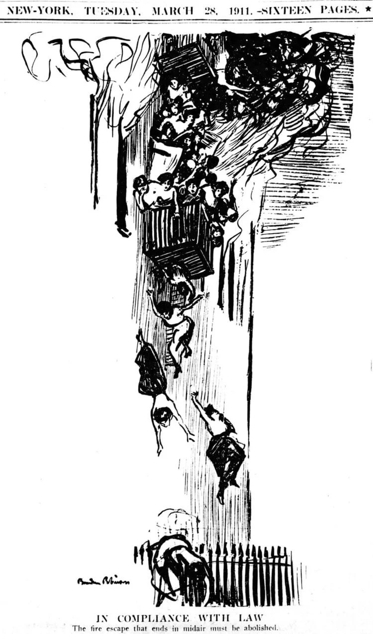 Triangle Shirtwaist Factory fire - Editorial cartoon from the New York Tribune - March 28 1911