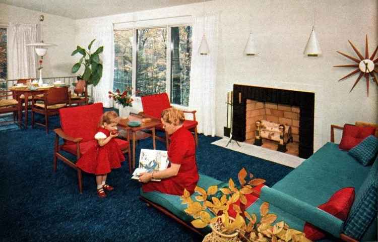 Typical 1950s prefab home - dining area and living room