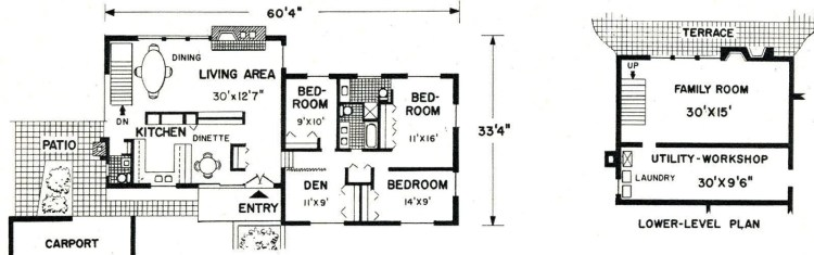 Typical 1950s prefab home - architect floor plan from 1968