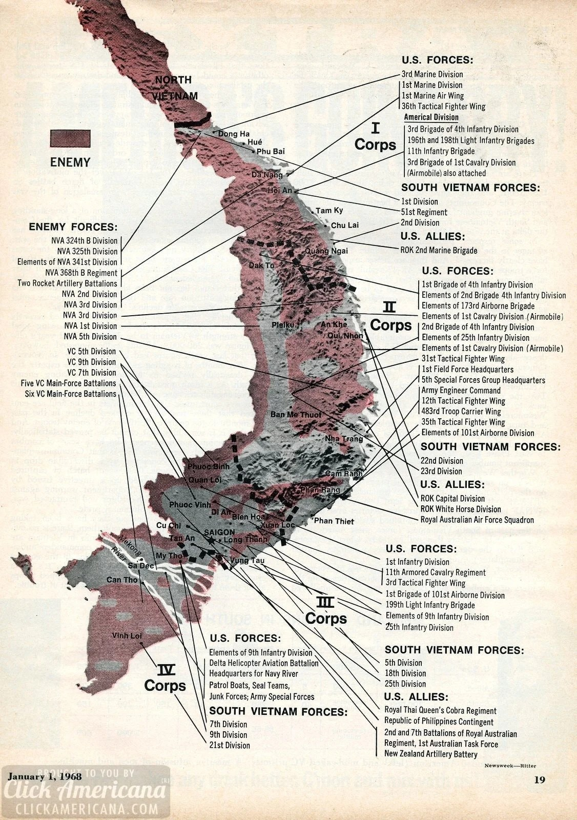 Lai Khe Vietnam Map.Vietnam War Map Corps To Corps 1968 Click Americana