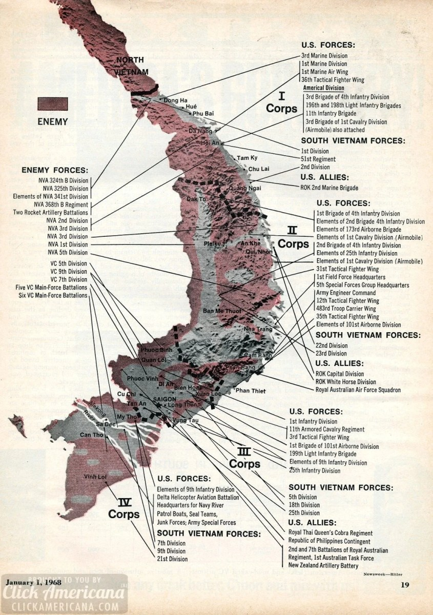 Vietnam War map: Corps to corps (1968)