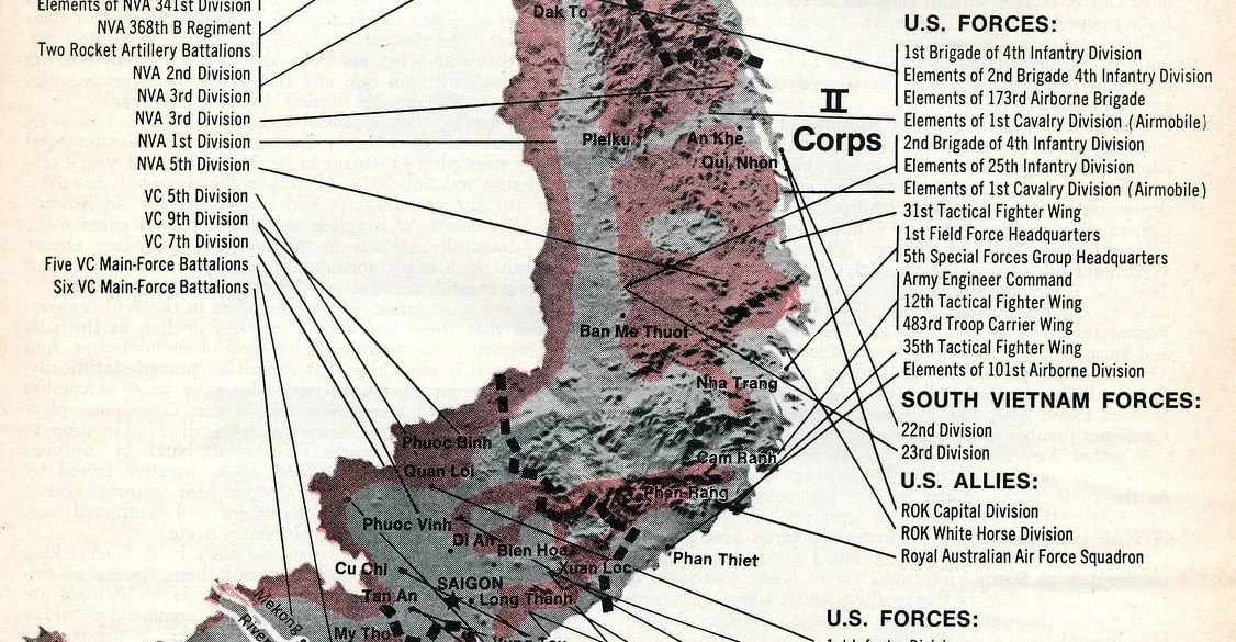 Vietnam War map - Newsweek - Corps to corps (1968)