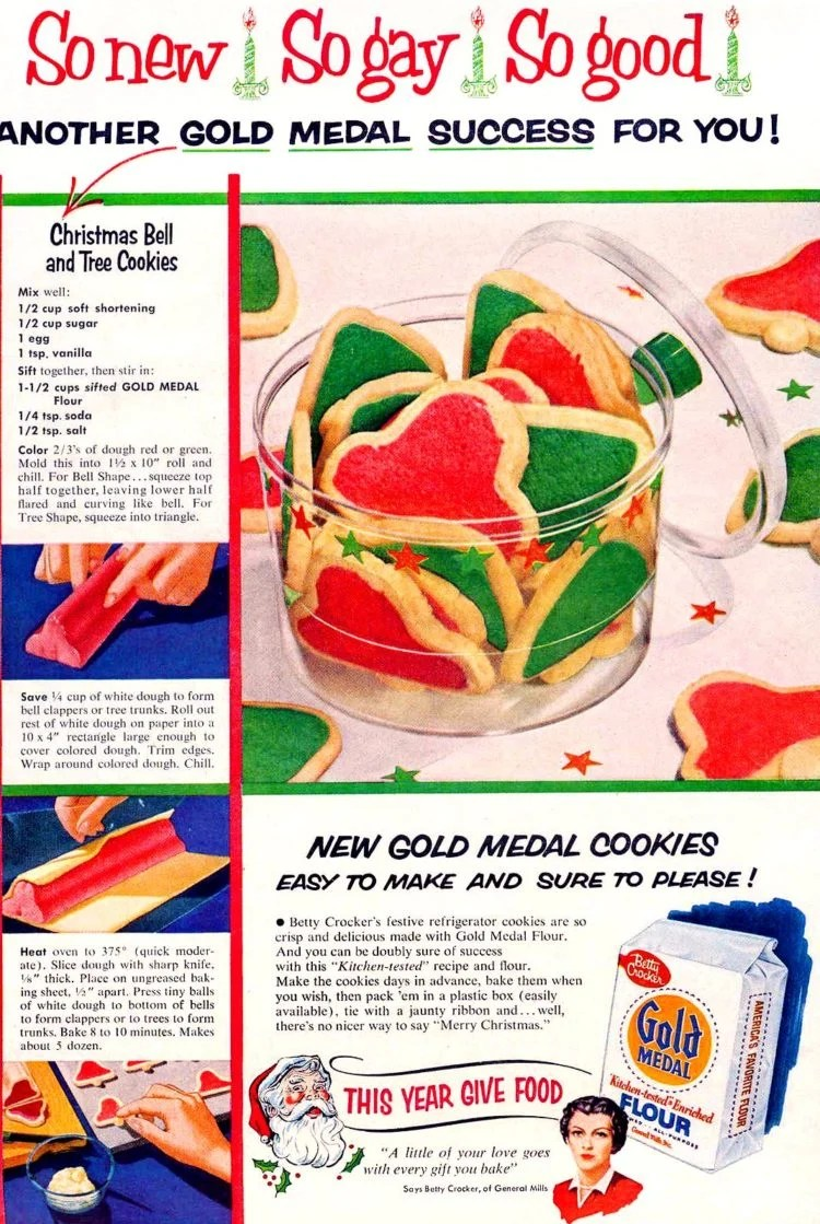 Vintage Gold Medal Christmas bell and tree cookies from 1954