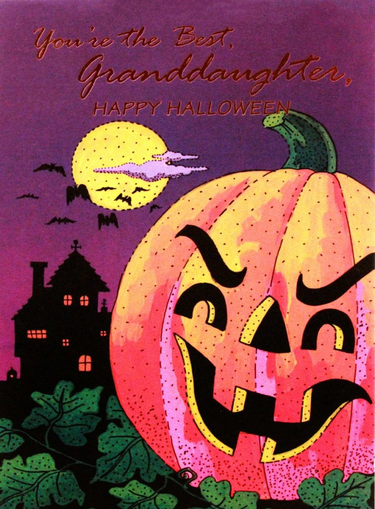 Vintage Halloween card with a spooky pumpkin from the 1980s