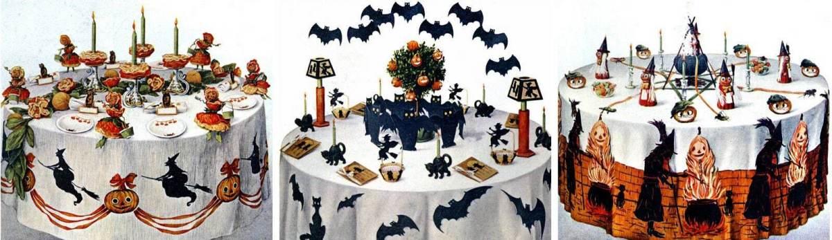 4 festive Halloween party table decorations & menu plans (1912)