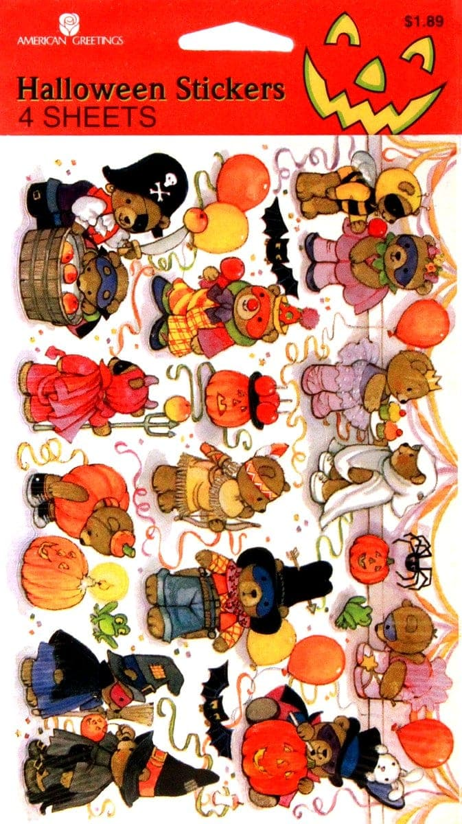 Vintage Halloween sticker sheet - American Greetings characters