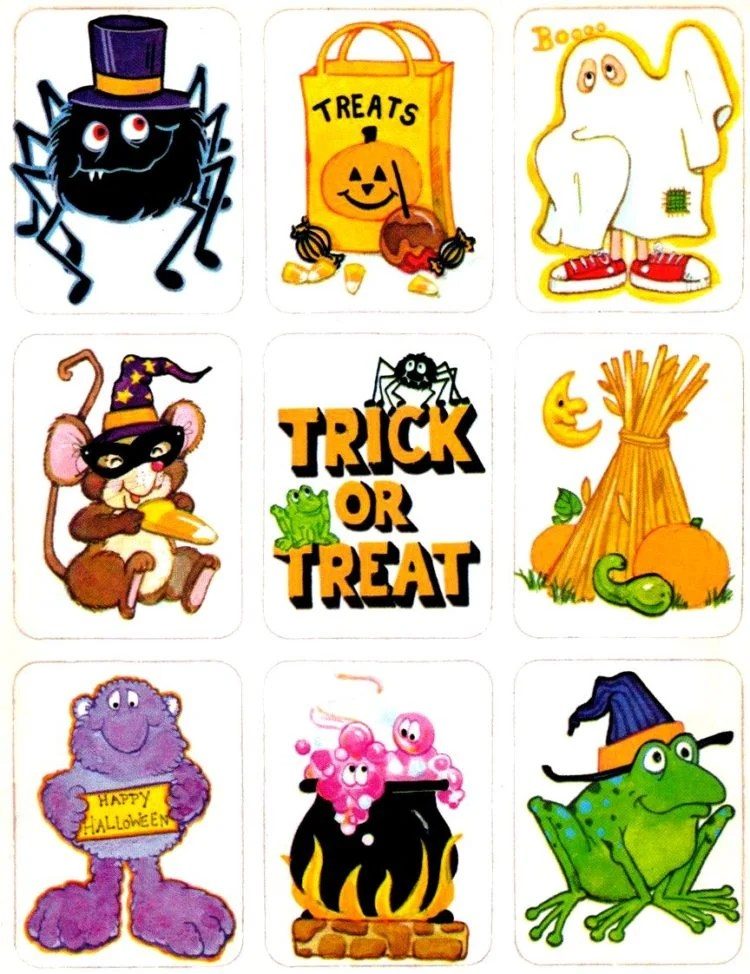 Vintage Halloween sticker sheets - Characters and sayings for trick or treat and costumes