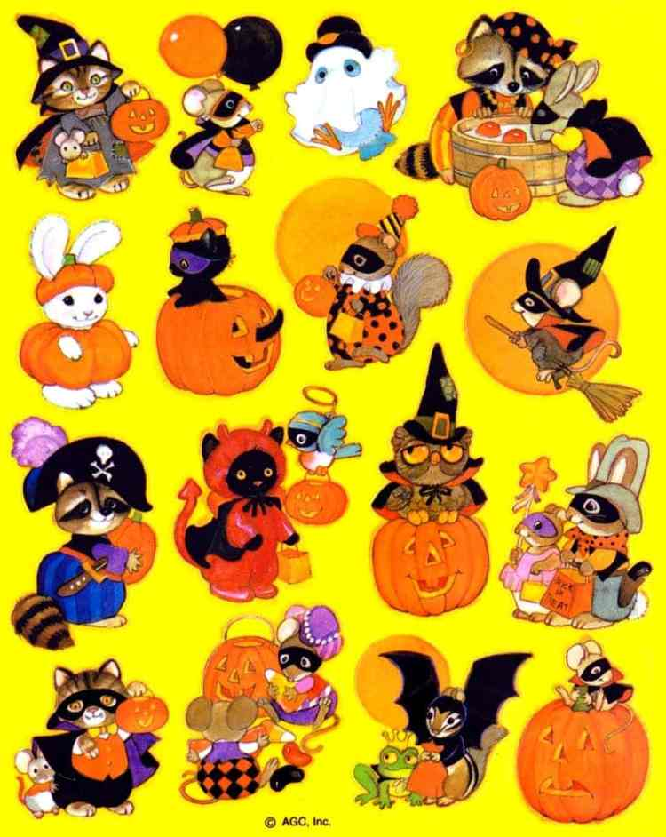 Vintage Halloween sticker sheet - Cute characters