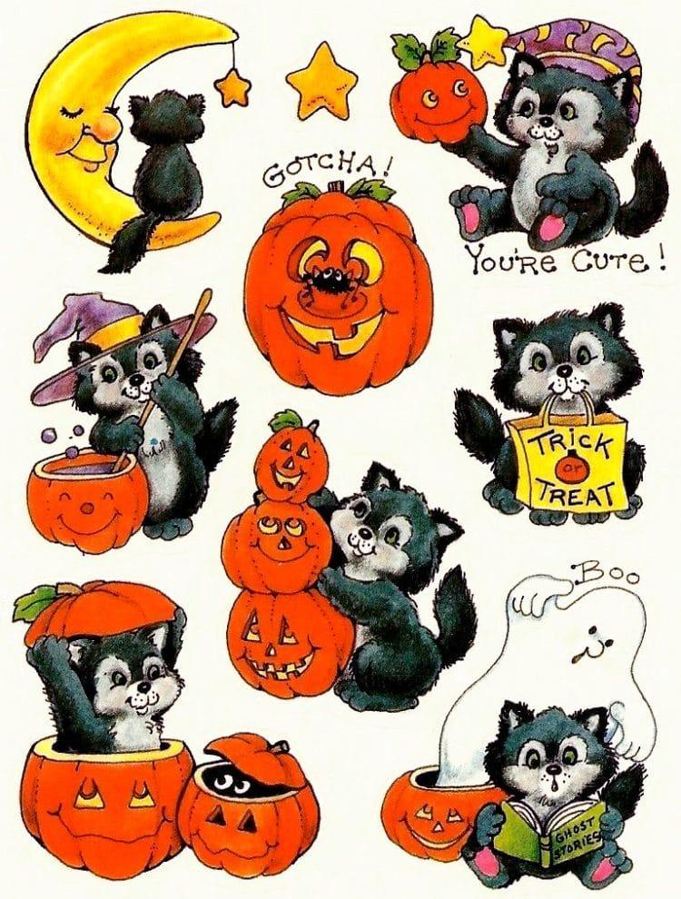 Vintage Halloween sticker sheet - Pumpkins and animals