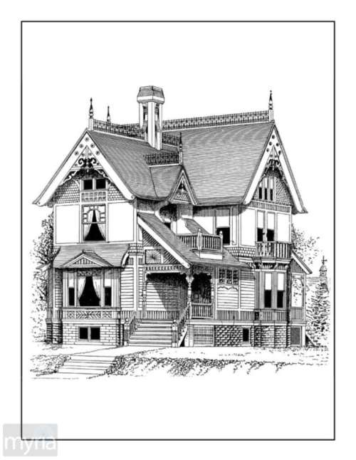 Vintage Homes Adult Coloring Book #3: Beautiful Victorian Houses