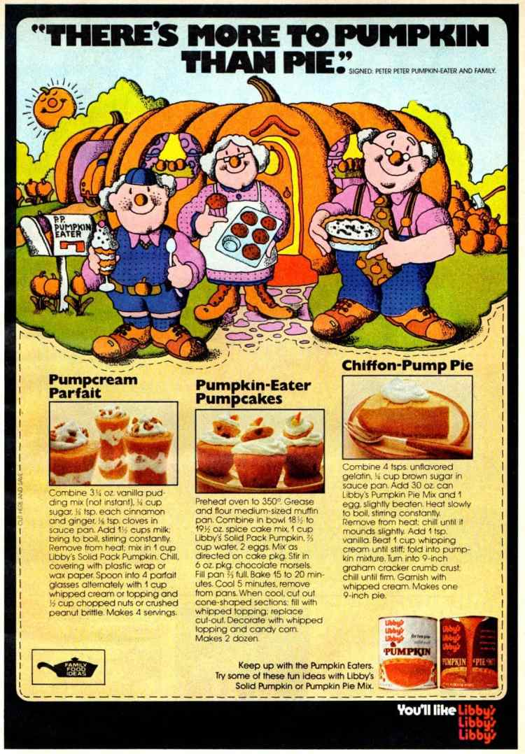Vintage Libby's pumpkin recipes Pump-Cream Parfait, Pumpcakes & Chiffon-Pump Pie