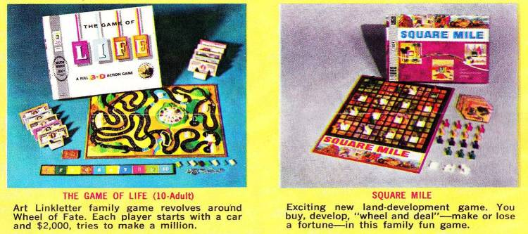 Vintage Milton Bradley board games from the early 1960s The Game of Life Square Mile