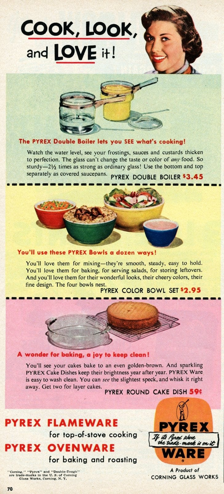Vintage Pyrex ad - Cook look and love it - 1950 (1)
