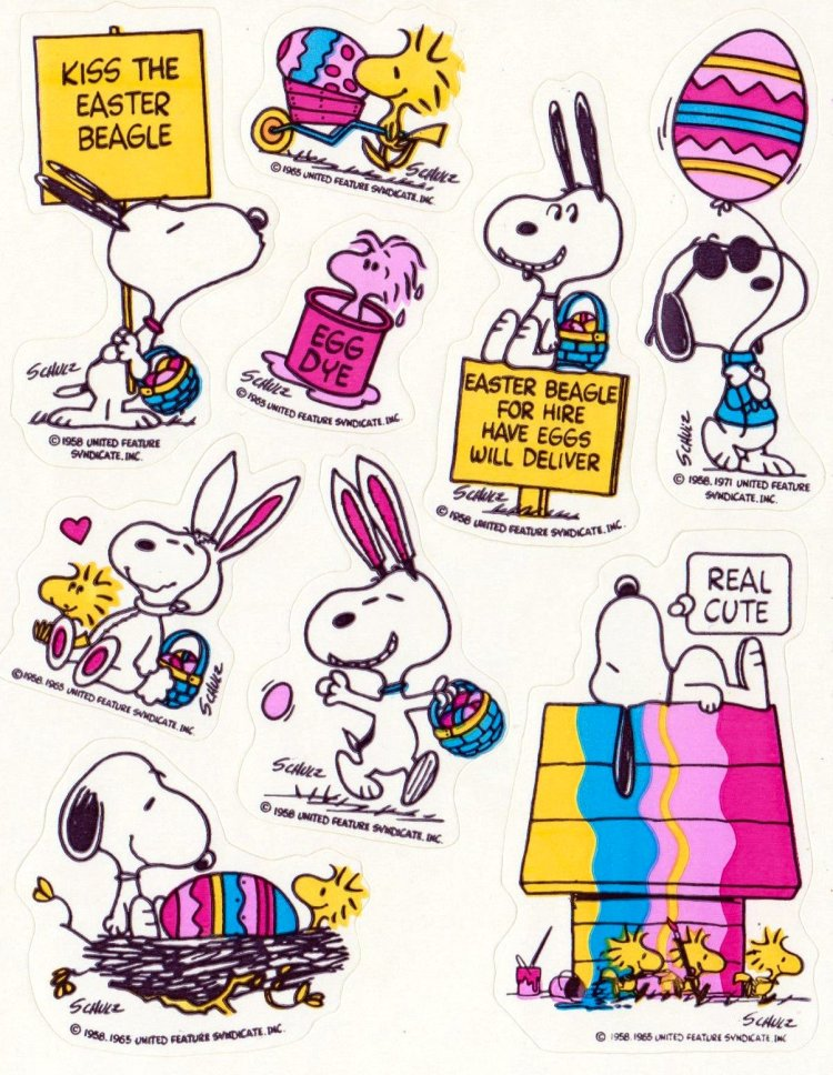 Vintage Snoopy Peanuts Easter sticker sheet Hallmark