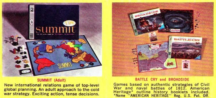 Vintage board games Milton Bradley 1960s - Summit Battle Cry Broadside