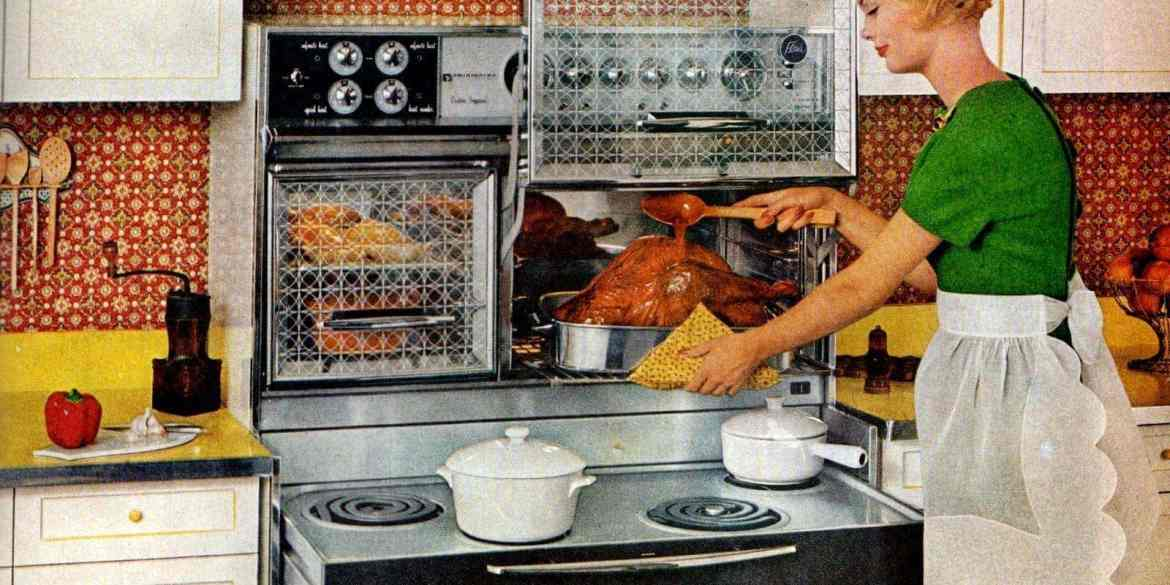 Vintage kitchen appliances from 1961 - Frigidaire Flair pull-out range stove and ovens with glass doors that lift up