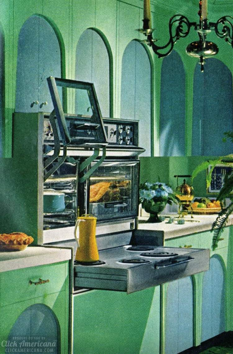 Vintage kitchen appliances from 1965 - Flair-style pull-out stove and ovens with glass doors that lift up