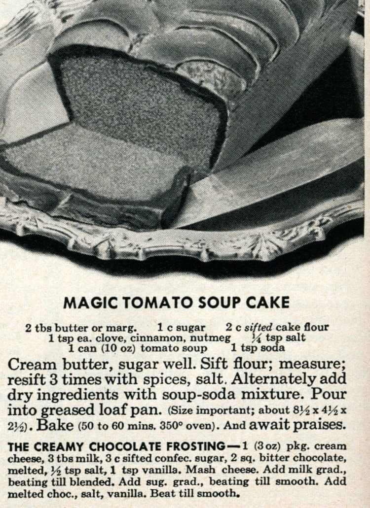 Vintage magic tomato soup cake recipe