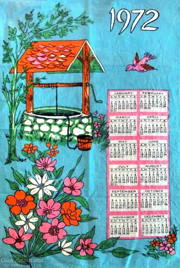 Vintage tea towel calendar from 1972 - Blue with wishing well