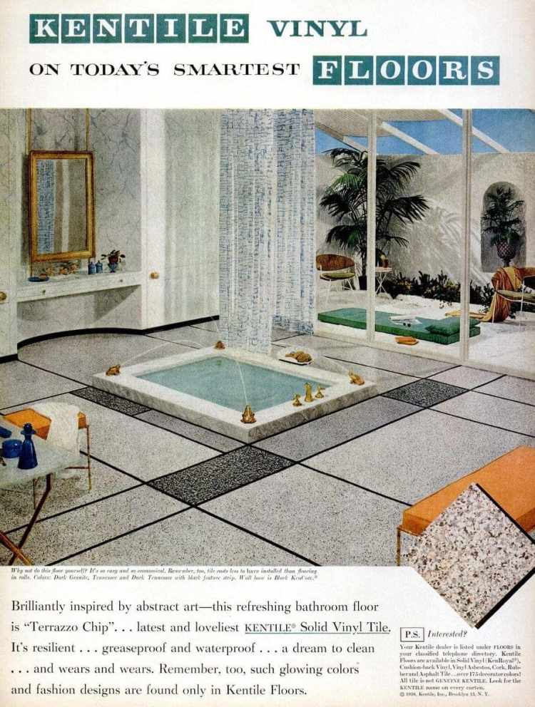 Vinyl flooring from 1958 in a bathroom featuring a sunken tub