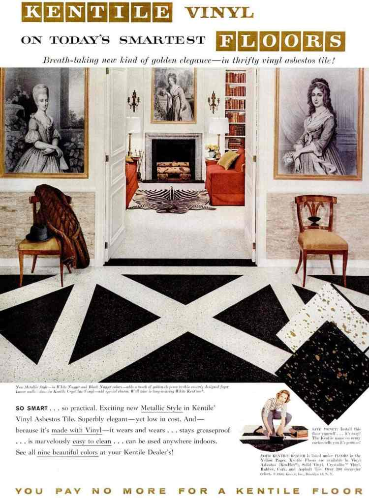 Vinyl floors for the home from 1959 - Black and white metallic vinyl tile