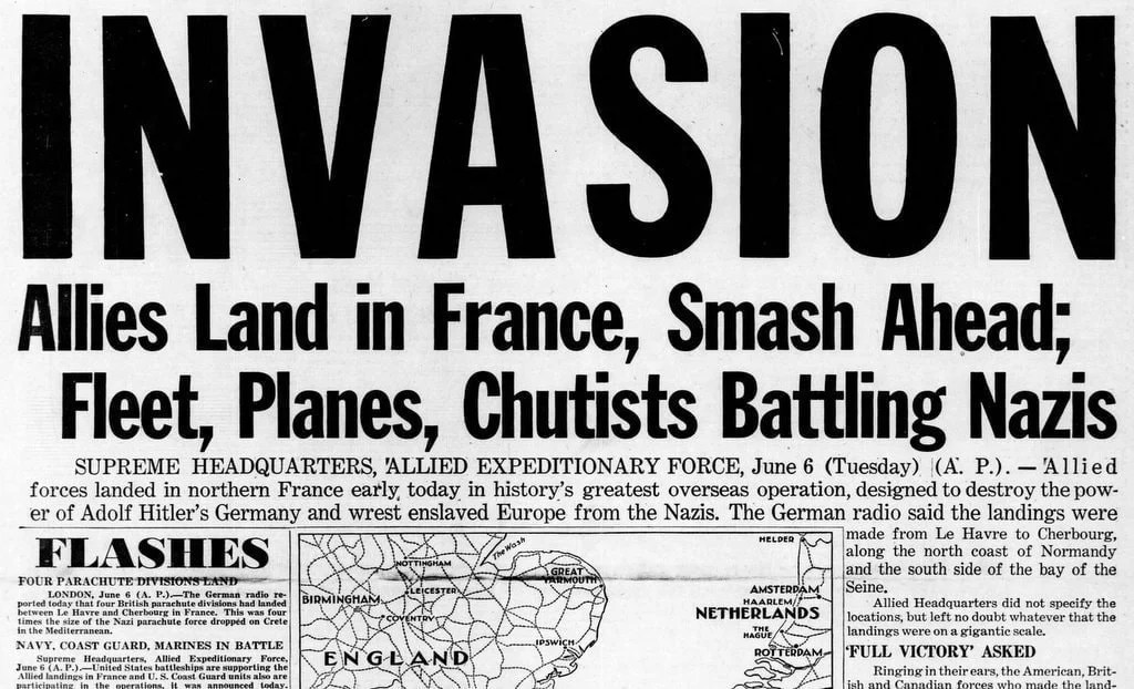 WWII Newspaper Headlines From The D-Day Invasion Of France