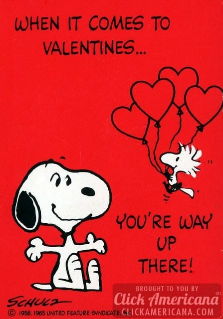 Vintage Valentine's Day card: When it comes to Valentines... you're way up there!