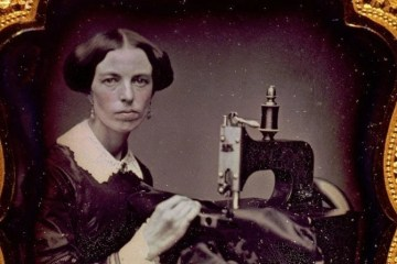 1853 Occupational portrait of a woman working at a sewing machine