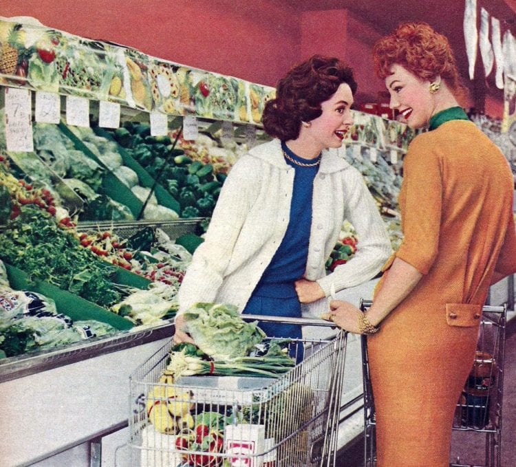 Women in produce section of grocery store - supermarket in 1958