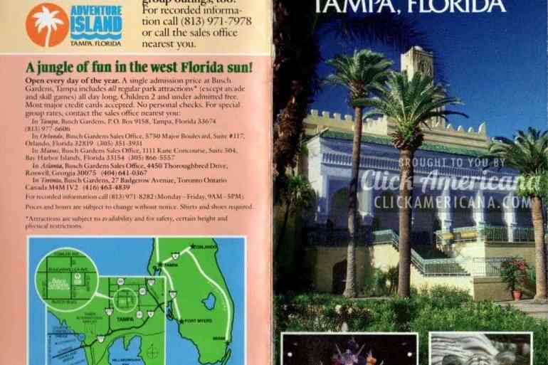 Busch Gardens: Brochure for The Dark Continent in Tampa, Florida (1987)