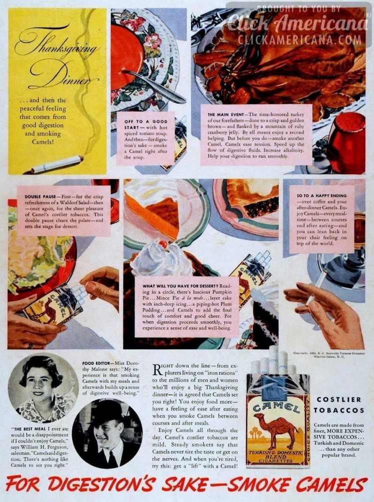 Thanksgiving & peaceful feelings smoking Camels (1936)