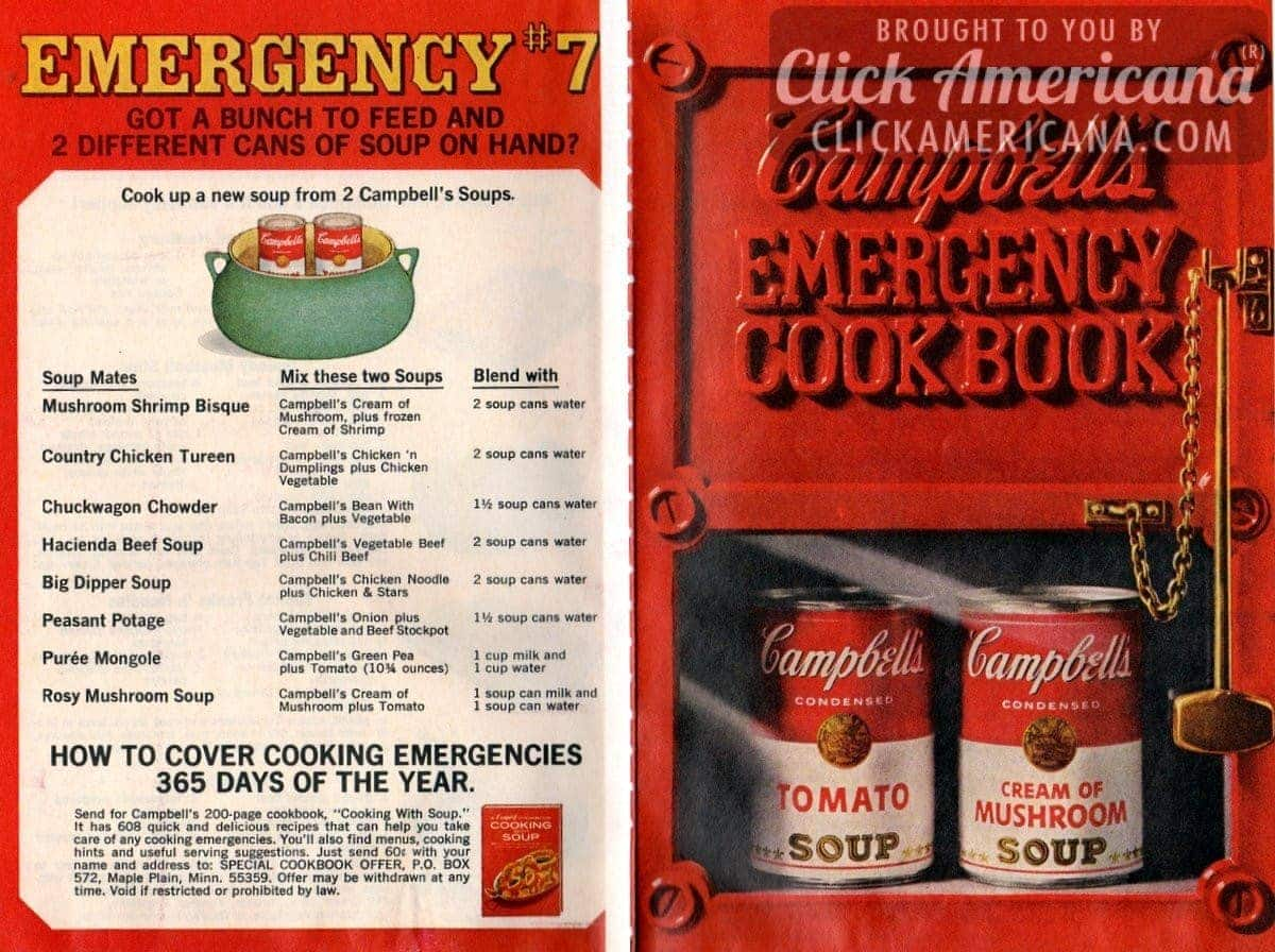 20 Recipes From Campbells Emergency Dinner Cookbook 1968