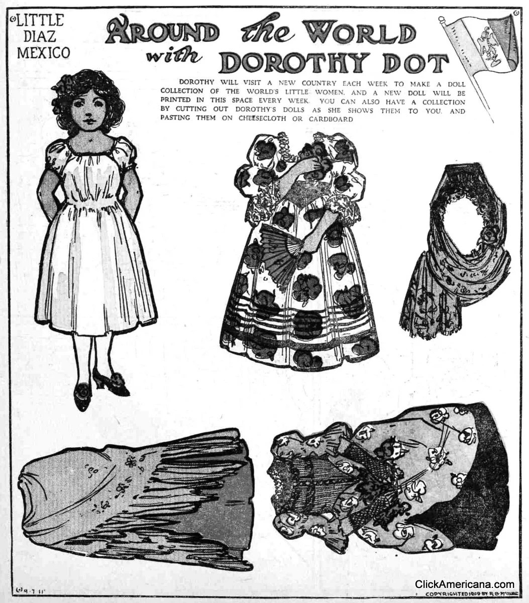 Dorothy Dot paper doll: Little Diaz of Mexico (1909
