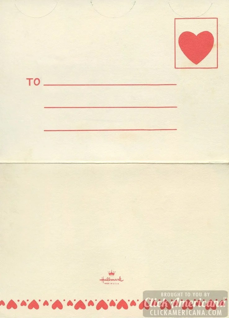 The back of a fold-over vintage Valentine card