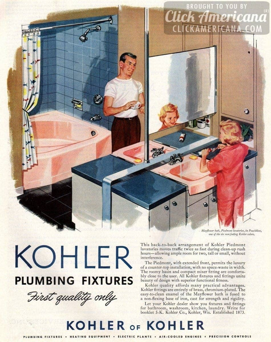 Kohler bathroom plumbing fixtures in Peachblow pink (1957) - Click ...
