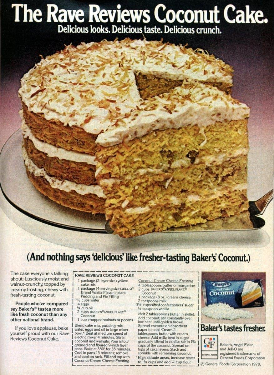 Rave Reviews Coconut Cake Recipe 1978 Click Americana
