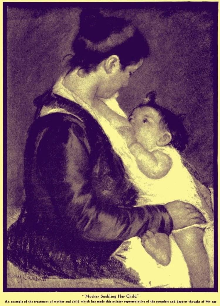 mom nursing baby 1915