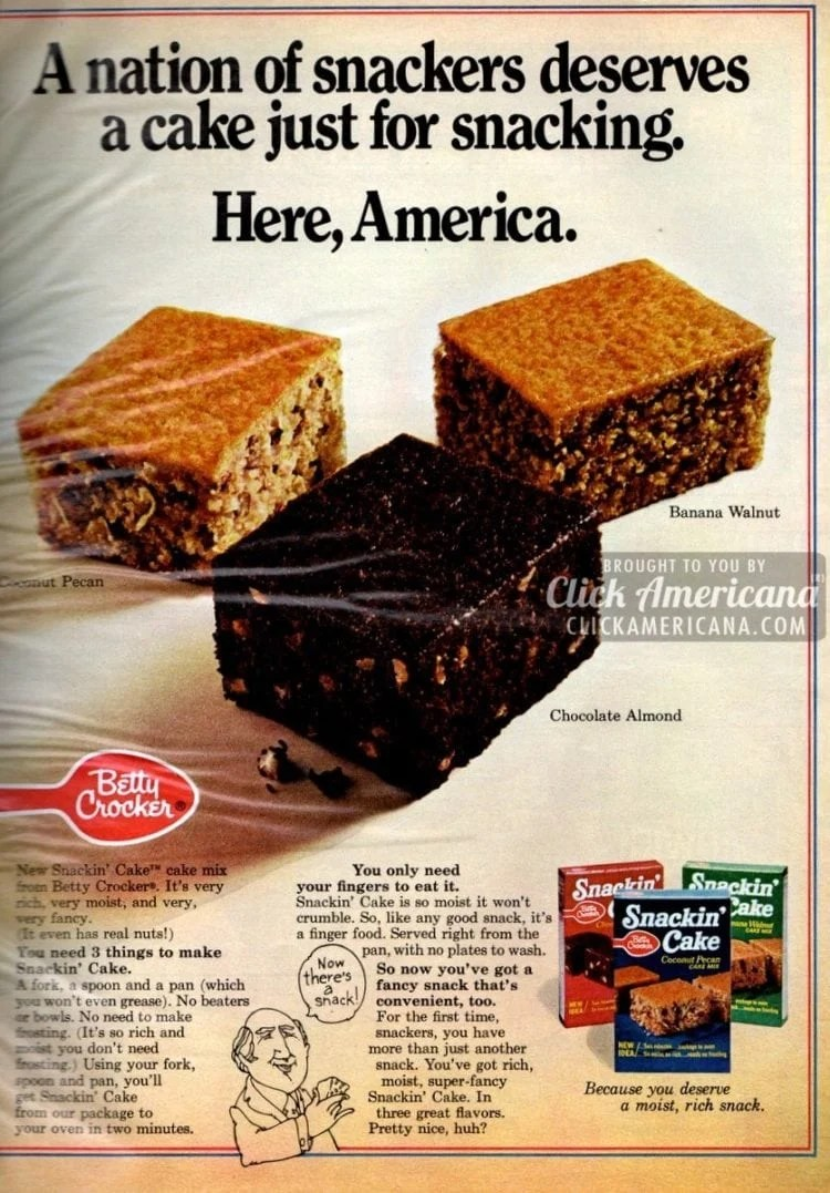 Snackin' Cake: Mix, bake, serve in 1 pan (1970s)