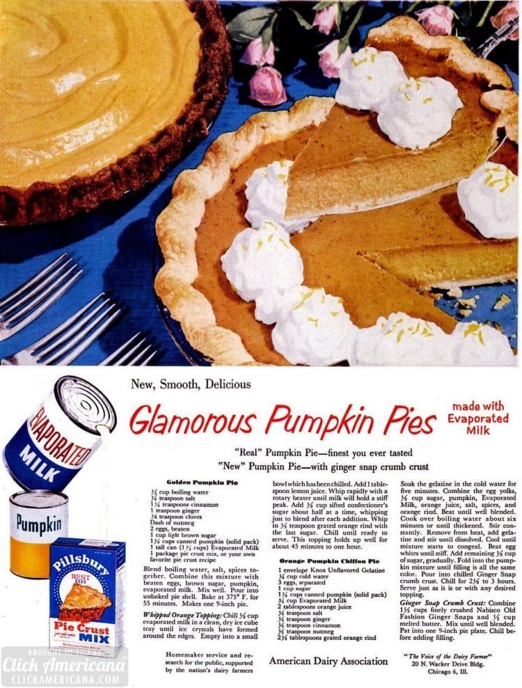 Thanksgiving dessert, '50s style: Pumpkin pie with gingersnap crumb crust, plus orange-pumpkin chiffon pie