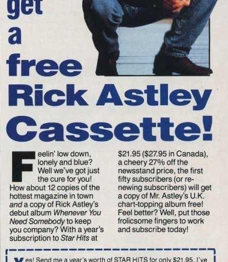 Rickrolled Subscribe To Star Hits Get Rick Astley 1988 Click