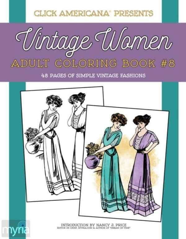 Vintage Women Coloring Book #8: Simple Vintage Fashions