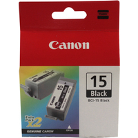 Canon BCI-15BK Ink Cartridge Black Pk2 BCI15BK 8190A002-0